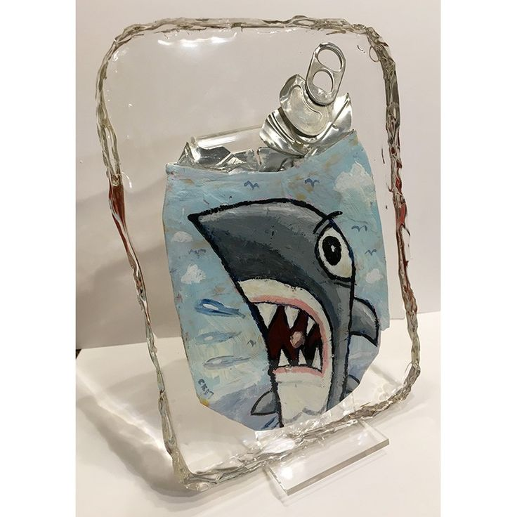 """Shark"" by Charles Kaufman. New! Crushed Can Art in resin.Each one is a one-of-a-kind, unique art object. Only one available. Each Crushed Can Art object is made from a recycled, flattened soda or beer can.  #shark #fish #ocean #aquarium #water #nature #sea #upcycle #beercan #sodacan #crushedcanart crushedcanart.com #charleskaufman #resin"