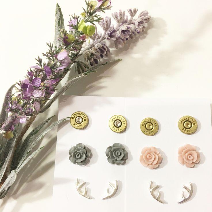 Triple Pack Bullet antler flower earrings