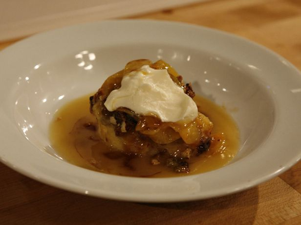 Vanilla Brioche Bread Pudding with Peach Suzette Sauce from FoodNetwork.com | Robert Irvine - Worst Cooks in America