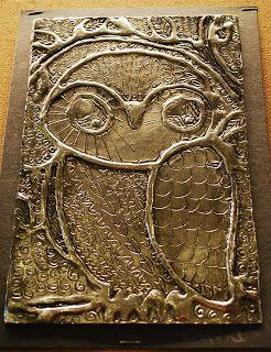 Make It... a Wonderful Life: Owls, Foil, Glue, and Shoe Polish    http://makeitawonderfullife.blogspot.co.uk/2011/12/owls-foil-glue-and-shoe-polish.html