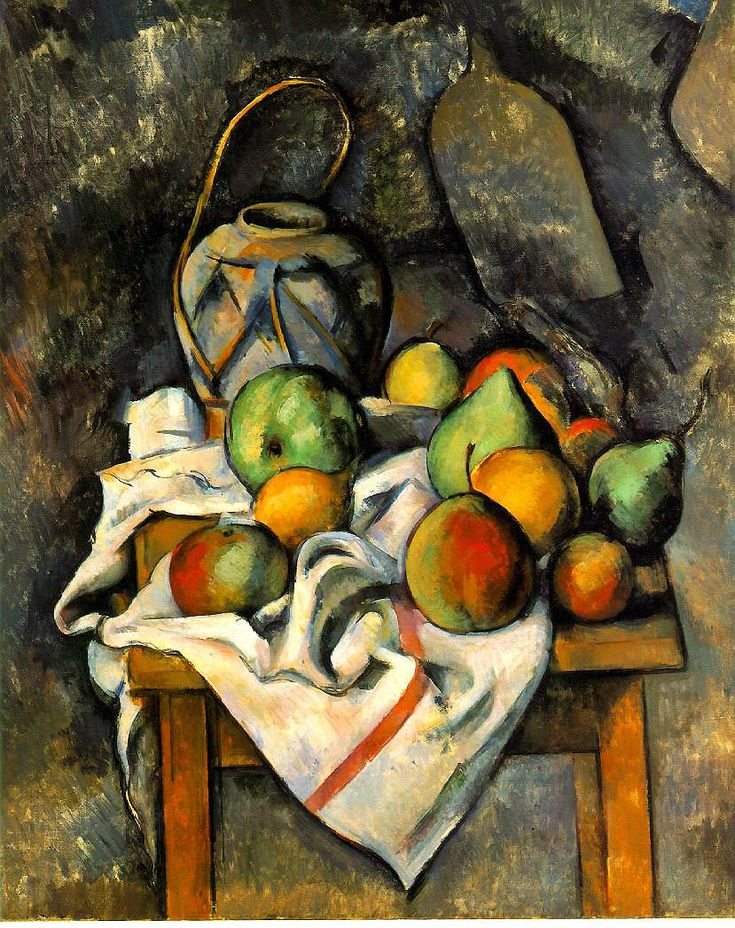 Post impressionism: 'The Ginger Jar' (c.1895) by French Post-Impressionist painter Paul Cezanne (1839-1906). Oil on canvas.  73.3 x 60.3 cm. Collection: The Barnes, Philadelphia. via wikipaintings