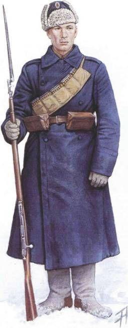 White sailors of Admiral Kolchak.Стрелок Морского учебного полка в начале Сибирского Ледяного похода. Ноябрь 1919 г.