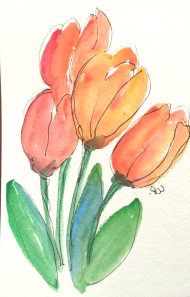 Aquarell Tulpen In 2020 With Images Watercolor Tulips
