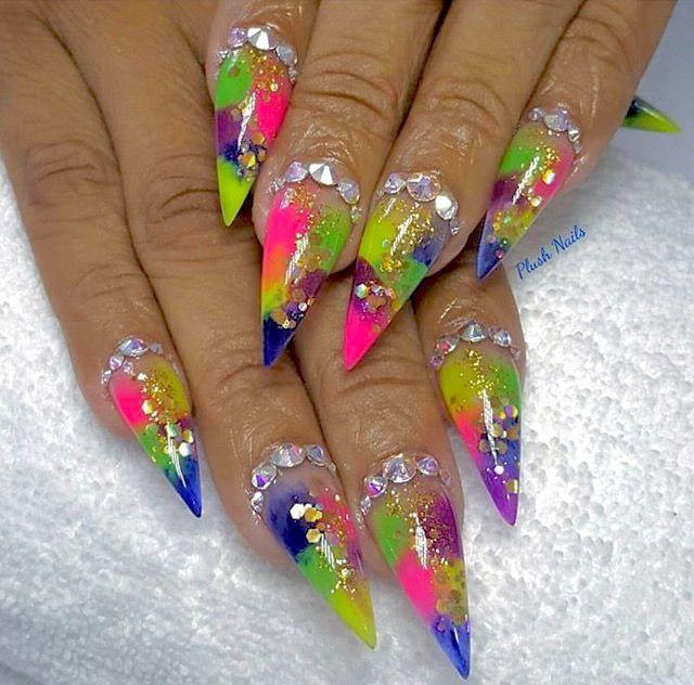 Colorful stiletto nails