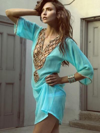 Morocco caftan Design Zeugari, tourquoise