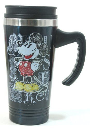 Disney Parks Stainless Steel Sketch Art Mickey Mouse Travel Mug