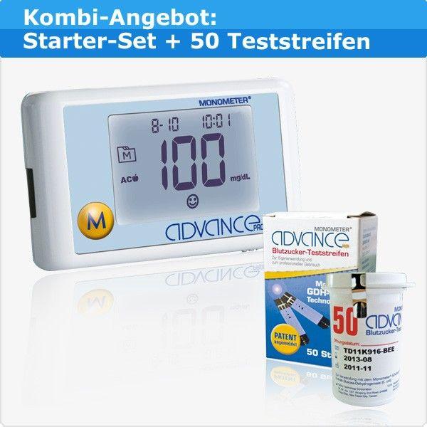 Advance Monometer® Kombi-Angebot: Blutzuckermessgerät + 50 Teststreifen für 24,65 €