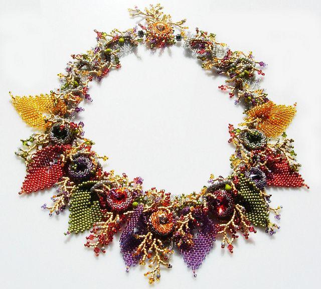 Stunning....Isabella lam Maple Autumn beadwork necklace