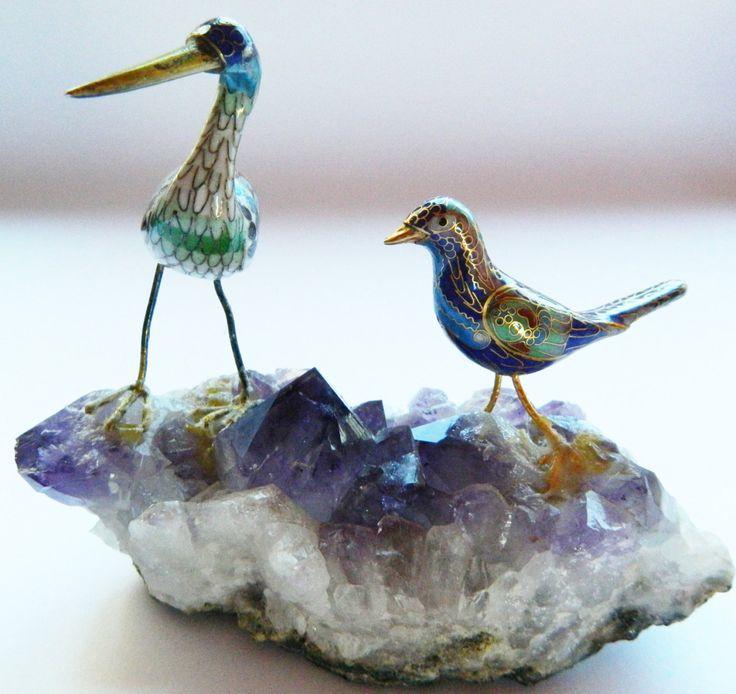 Vintage Cloisonne Japanese Crane Birds Figurines on Raw Amethyst Handmade by RetroBackyardSales on Etsy