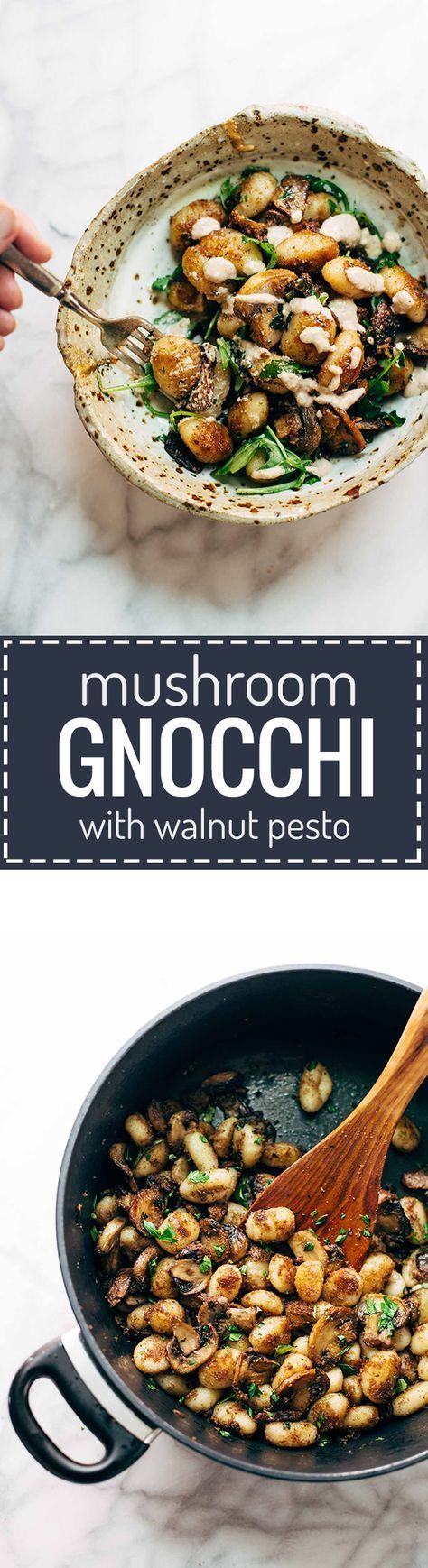 Mushroom Gnocchi with Walnut Pesto and Arugula - a rustic vegetarian recipe made with easy ingredients like Parmesan cheese, garlic, olive oil, arugula, mushrooms, and DeLallo potato gnocchi. Comes together in 30 minutes or less! ♡ | http://pinchofyum.com