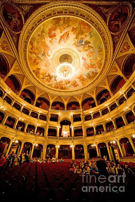 Budapest Opera House interior, auditorium and ceiling with frescos by Karoly Lotz in Budapest, Hungary.