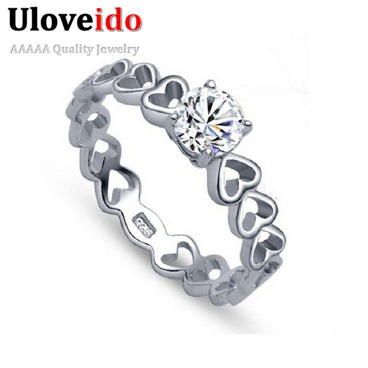 50% de descuento del anillo de dedo del corazón del amor de la vendimia de plata anillos de boda de moda para las mujeres encantos de la joyería del día de san valentín uloveido j391