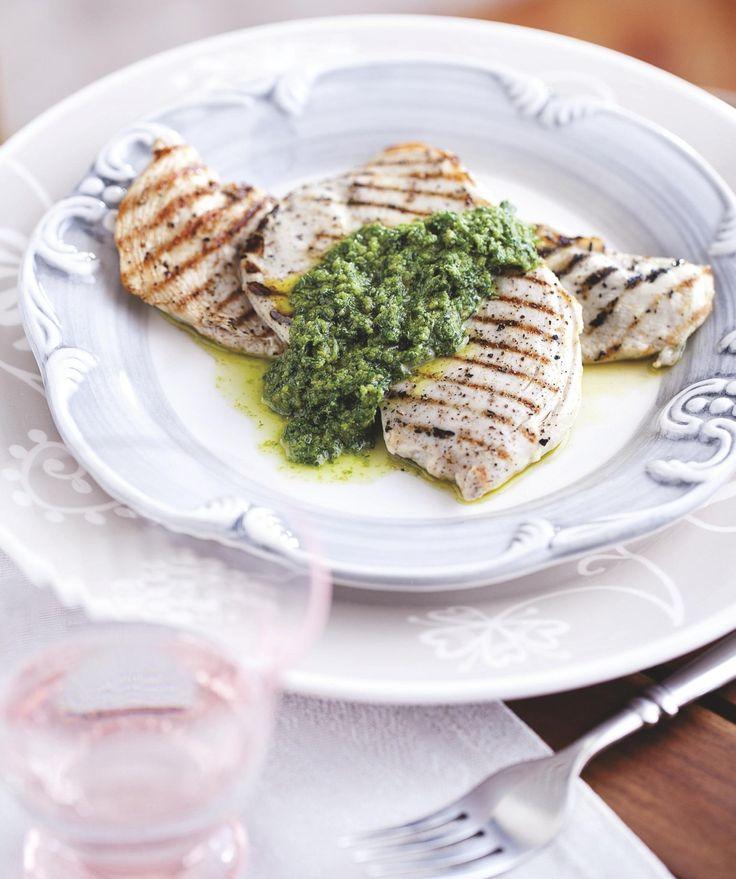 Salsa verde met gegrilde kip
