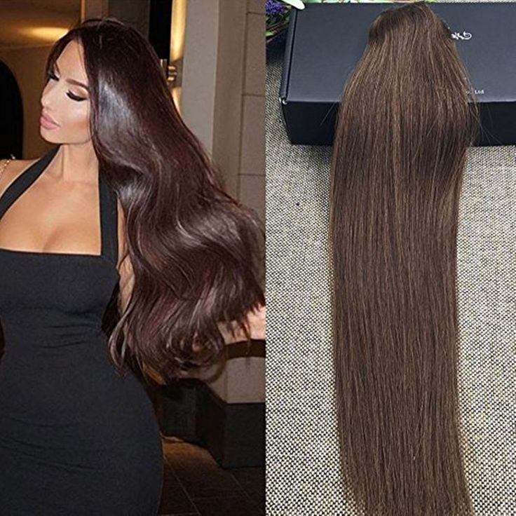 Premium Thick One Piece Clip-in 100% Human Hair Extensions Medium Brown Color #FullShine #OnePiece