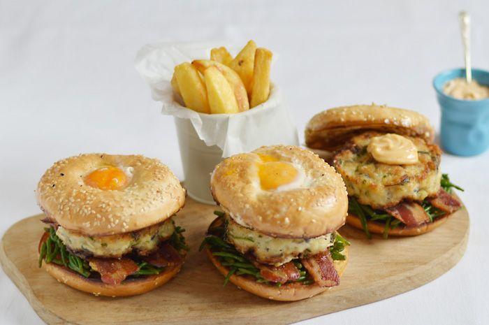 Lemon & Vanilla: Cod burgers served on a bagel, with bacon, samphir...