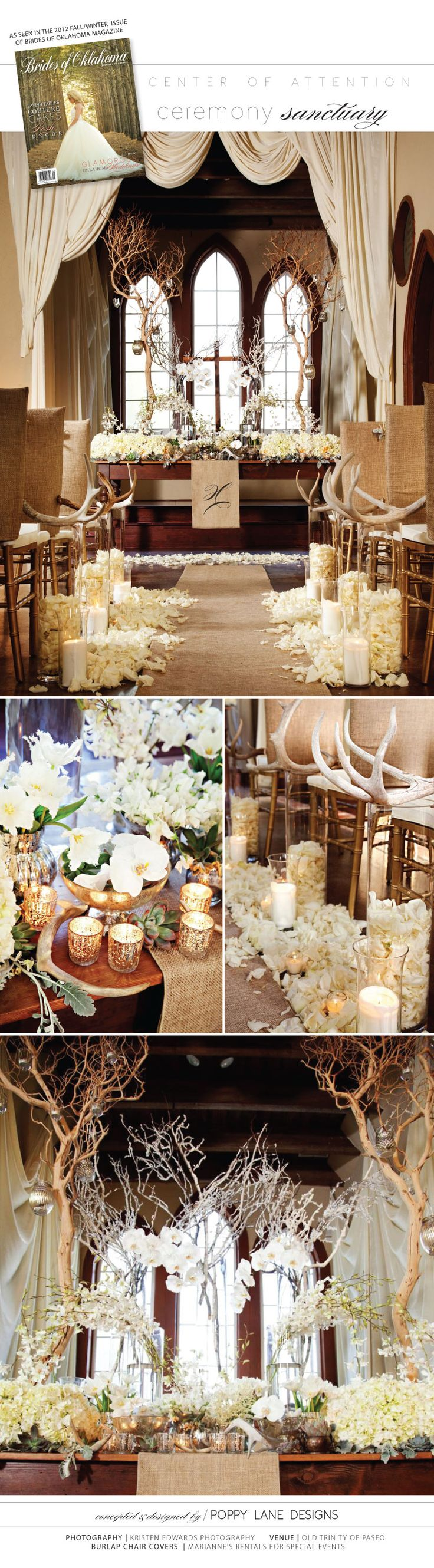 Wintery white alter/aisle display from Poppy Lane Designs at the Old Trinity of Paseo.  Photography by Kristen Edwards Photography. That's beautiful!