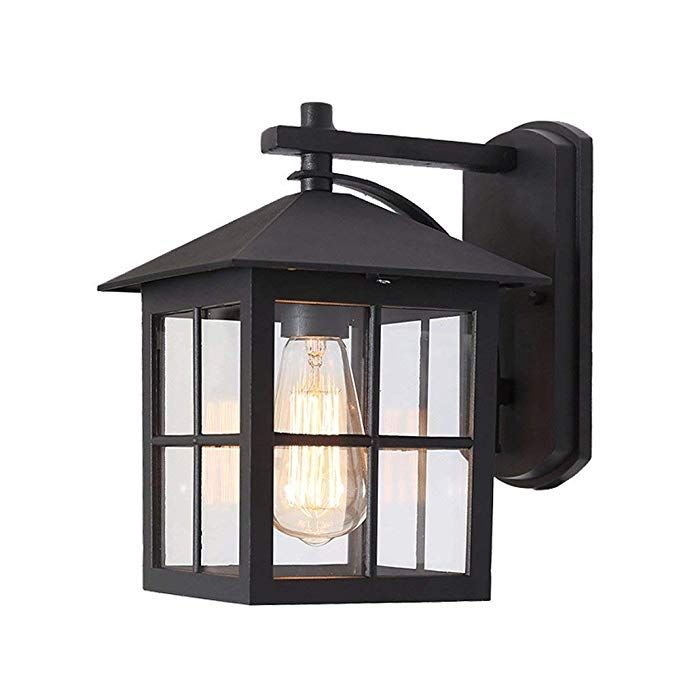 Lmdh Classic Led Outdoor Wall Lantern Black Polypropylene Plastic Porch Lamp With Clear Acrylic Lenses Water Porch Light Fixtures Porch Lighting Wall Lantern