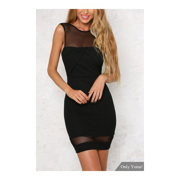 Black Sheer Mesh Sleeveless Open Back Mini Dress ($12) ❤ liked on Polyvore featuring dresses, sexy going out dresses, party dresses, holiday party dresses, open back cocktail dress and short dresses
