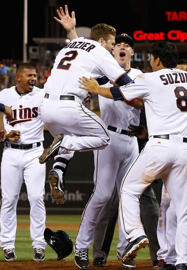Walk-off Home Runs in 2015  Brian Dozier | July 10 Brian Dozier leaps into the air as teammates wait to congratulate him on a walk-off, three-run home run in the ninth inning that gave Minnesota an 8-6 victory over Detroit on July 10. The Twins scored seven runs in the ninth inning to erase a 6-1 deficit.