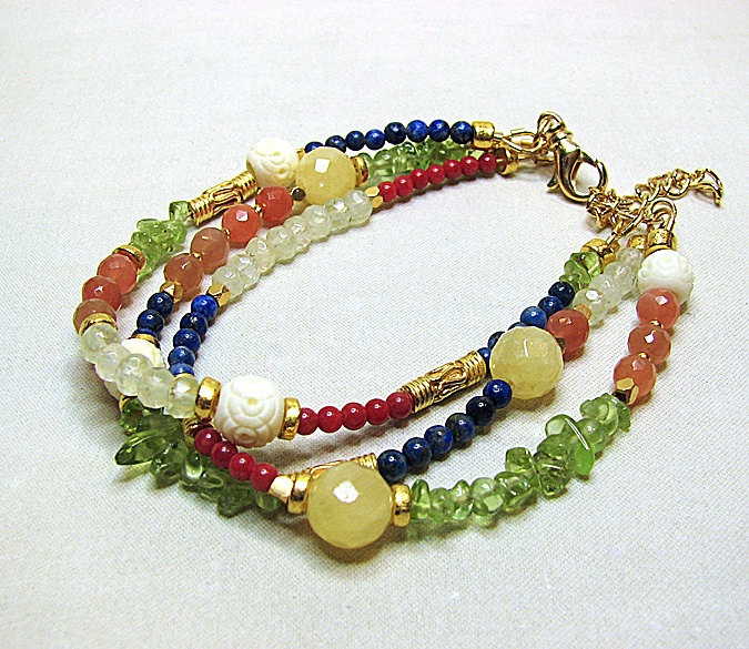 Multistrand gemstone beaded bracelet Multi strand by ShopPretties