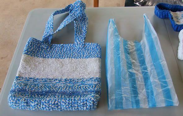 bolso a croshet con bolsas de plastico