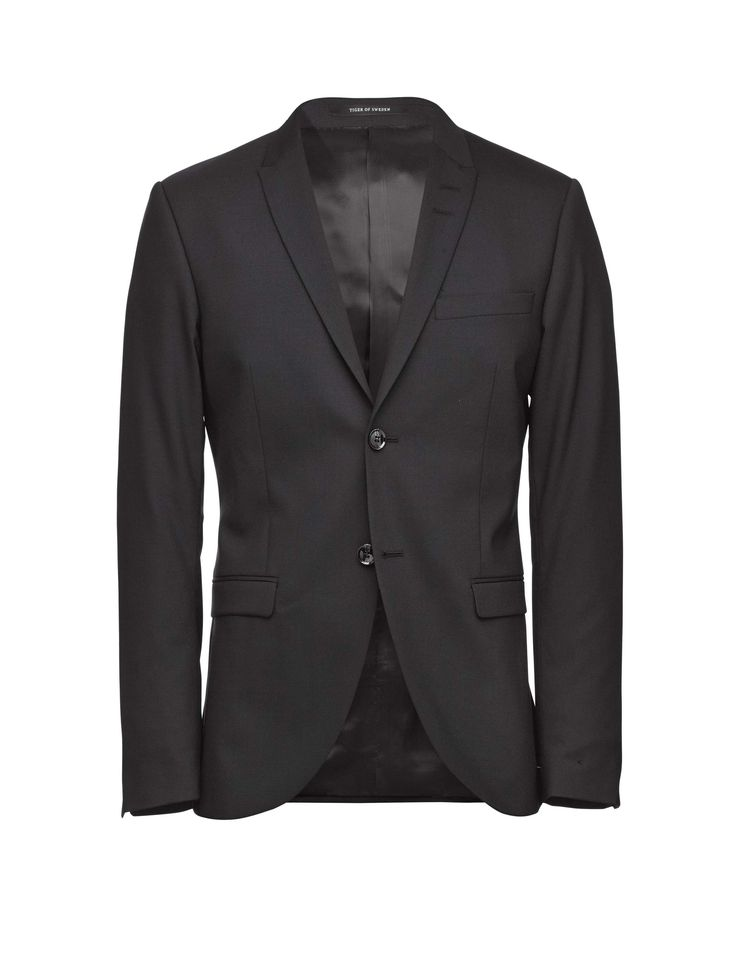 "Men's blazer in wool stretch poplin. Slim peak lapels, flap pockets, two-button closure and double back vents. Extra-slim fit.  </br></br> For a complete suit look wear it with <a href=""http://tigerofsweden.com/se/trousers/herris-trousers-T56431025Z.html"" style=""font-weight:bold; text-decoration: underline;"" target=""_blank"">Herris trousers</a>"