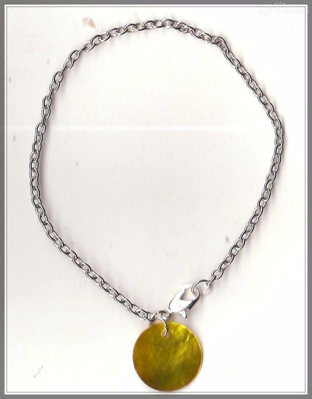 Gold MOP Shell Bead Silver Tone Bracelet(20cm) by MadAboutIncense - $7.50