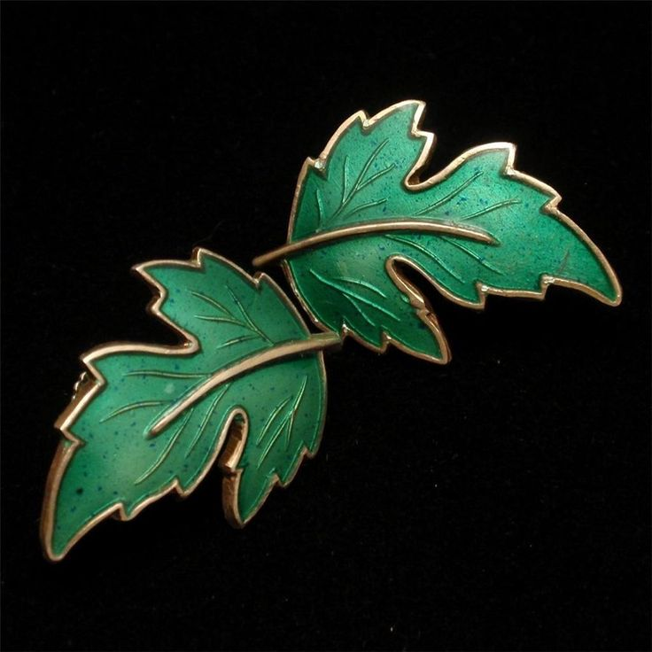 Leaf Earrings Sterling Silver Enamel Norway Vintage SK