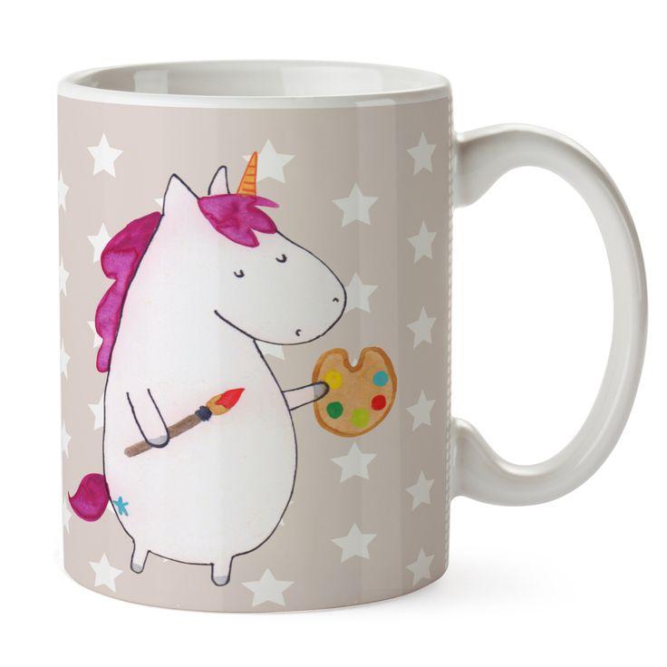 Tasse Einhorn Künstler aus Keramik  Weiß - Das Original von Mr. & Mrs. Panda.  Eine wunderschöne spülmaschinenfeste Keramiktasse (bis zu 2000 Waschgänge!!!) aus dem Hause Mr. & Mrs. Panda, liebevoll verziert mit handentworfenen Sprüchen, Motiven und Zeichnungen. Unsere Tassen sind immer ein besonders liebevolles und einzigartiges Geschenk. Jede Tasse wird von Mrs. Panda entworfen und in liebevoller Arbeit in unserer Manufaktur in Norddeutschland gefertigt.     Über unser Motiv Einhorn…