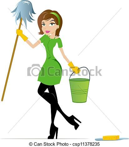 House Cleaning Clip Art Free | - Cleaning Woman with Mop and Bucket csp11378235 - Search Clip Art ...