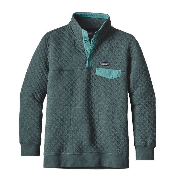 - Diamond-quilted organic cotton/polyester jersey is warm and soft - Pullover with 4-snap nylon placket and stand-up collar - Left-chest pocket with nylon flap and snap closure - Y-Joint sleeves for i