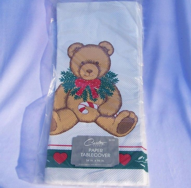 Christmas Teddy Bear Paper Table Cover Holiday Tablecloth Carlton Cards Vintage #CarltonCards