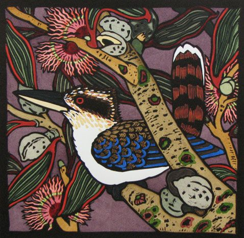 Kit Hiller - Kookaburra - hand colored linocut