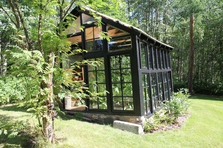 Garage Classy Old Windows In Greenhouse Plans Black