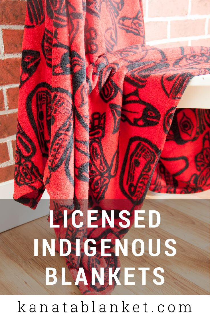 This wonderful Haida Dreamtime Velura™️ Throw blanket by James Hart shows classic Haida images in bold red and black colors, which are traditional of this Indigenous art form. For more, follow us @kanatablanket