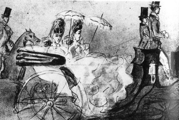 Константин Ги, Прогулка по лесу. Лувр, Париж Во время послеобеденной прогулки в карете дамы используют солнечный зонтик с бахромой