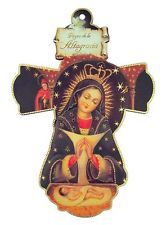 Virgen de la Altagracia Icon with Gold Foil Trim on 7 3/4 Inch Wooden Wall Cross