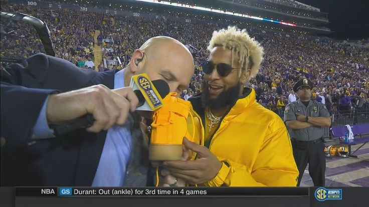 LSU's beating Texas A&M so badly, SECN's sideline analyst is smelling Odell Beckham's shoes