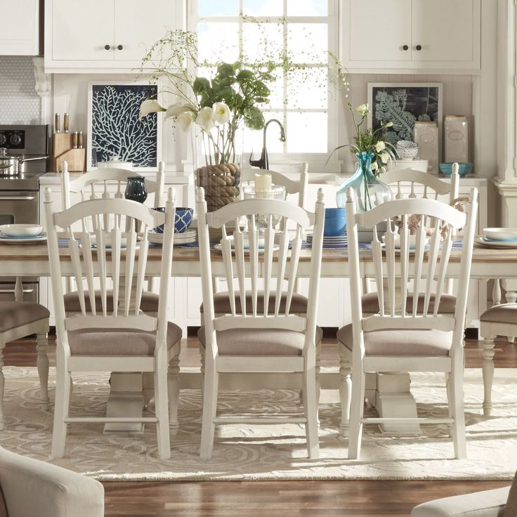 Mckay country antique white slat back dining chair by for B q dining room furniture