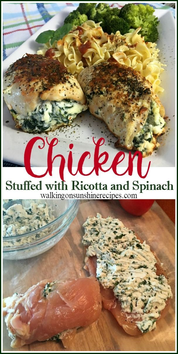 The Best Chicken Stuffed with Ricotta and Spinach Recipe from Walking on Sunshine Recipe.  An easy and delicious chicken recipe your family is going to ask for again and again!
