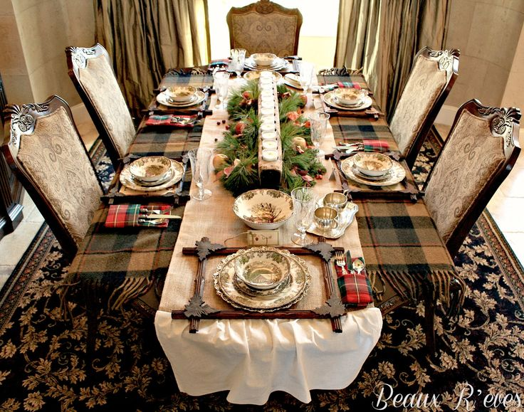 Love the centerpiece and the use of a plaid throw in this rustic table.