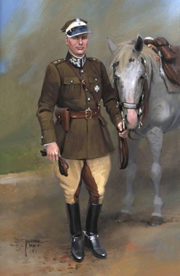 Wojna obronna Polski 1939 Oficer 7 Pułku Strzelców Konnych. Rys. Jarosław Wróbel.