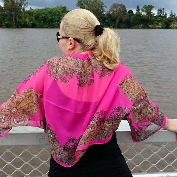 Pink Chiffon Bolero Shrug Gold Paisley Border