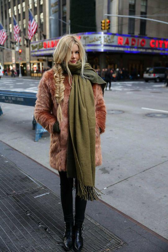 new york city street style inspo winter chic fishtail plait faux fur coat