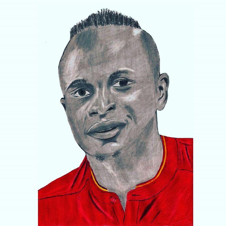 My #pencildrawing of #LFC star Sadio Mane