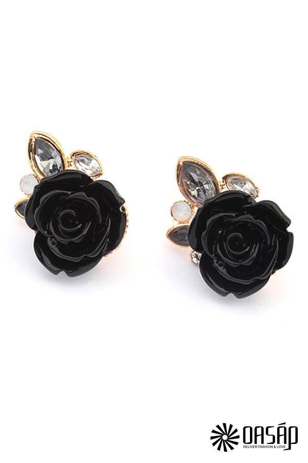 The stud earring featuring rhinestones embellishment. Rose pattern. Post back.