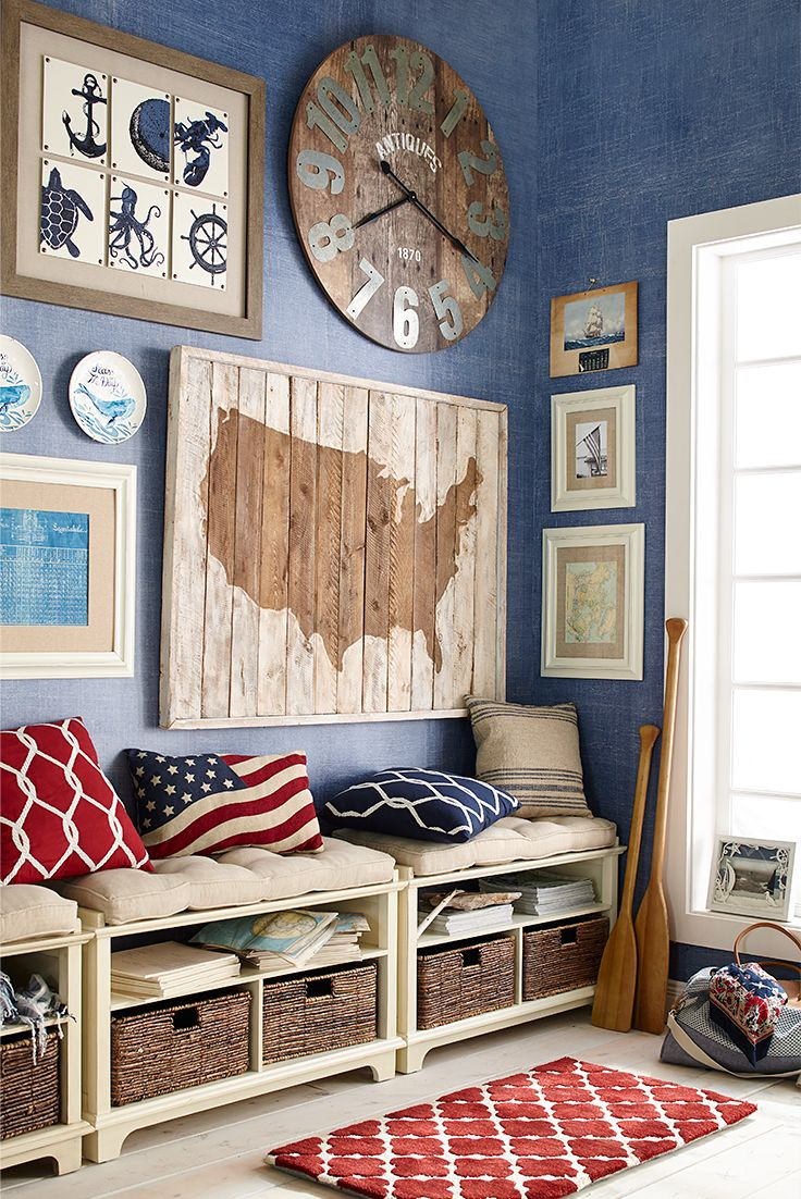 From coast to coast, Pier 1's rough-hewn silhouette of the U.S. is constructed of whitewashed pine. Make it the focal point of your Americana arrangements, or place it over a stone mantel for some real cabin chic.