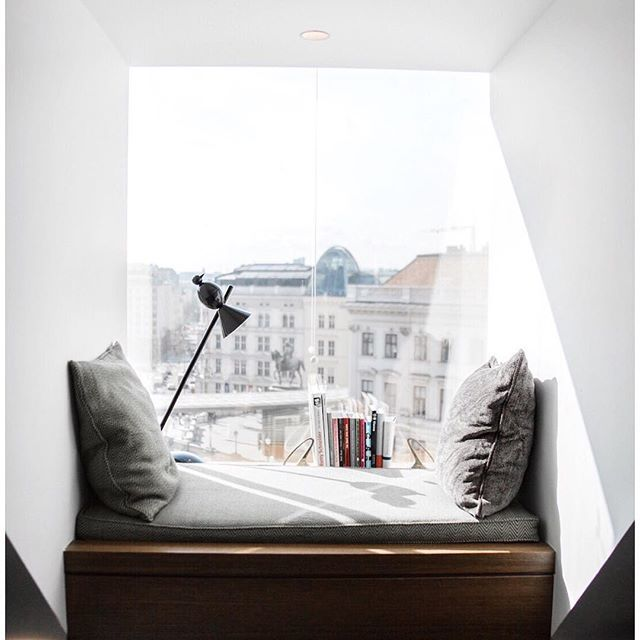 Love this cute reading space! Remember when styling a reading corner or nook, add cushions and throws for warmth and texture along with books, magazines and a lamp if you can!