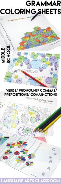 Add some color to your grammar lesson plans. Have students color and create while studying language basics.