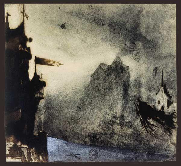 Victor Hugo Dessins Le Rocher de l'Ermitage dans un paysage imaginaire